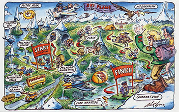 National park New Zealand - cartoon map