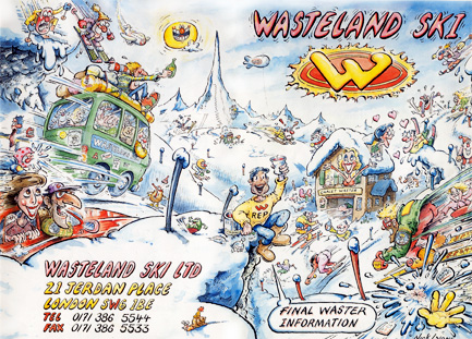 Wastelands ski brochure cartoon